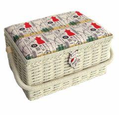 Sewing Online FM-007   Notions Sewing Basket   Beige/Multi   26.5 x 19 x 15cm