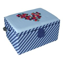 Medium Sewing Box with Compartments in a Striped Blue Fabric with an Embroidered Button Heart Lid. 18.5x26x15cm