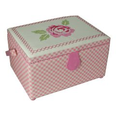 Medium Sewing Box with Compartments in a Pink Gingham Fabric with a Cross Stitch Floral Lid. 18.5x26x15cm