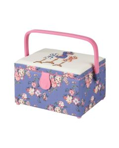 Medium Sewing Box with Compartments in a Purple Floral Fabric with a Dressmaker's Dummy Appliqu├® Lid. 18.5x26x15cm