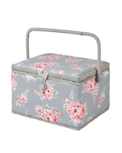 Large Beautiful Bloom Sewing Box, Pink on Grey Flowers Pattern Fabric, 23.5x31x20cm