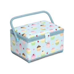 Medium Sewing Basket Cupcakes on Blue Print 18.5 x 26 x 15cm  MRM-18