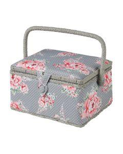 Medium Beautiful Bloom Sewing Box, Pink on Grey Flowers Pattern Fabric, 18.5x26x15cm