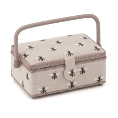 Small Rectangular Sewing Box - Linen Bee 24 x 16 x 11cm - HobbyGift HGSR-347