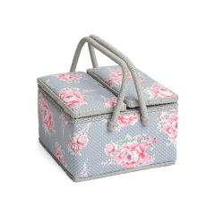 Extra Large Twin Lidded Beautiful Bloom Sewing Box, Pink on Grey Flowers Pattern Fabric, 25x25x17cm