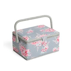 Medium Beautiful Bloom Sewing Box, Pink on Grey Flowers Pattern Fabric, 18.5x26x15cm