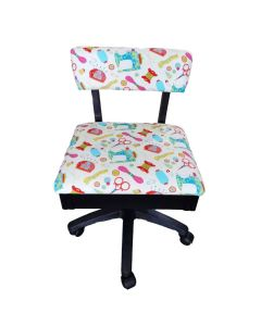Hydraulic Sewing Chair White with Multi Notions Design - HT2017