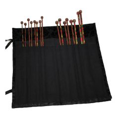 Black Jacquard Wrap-Around Fabric Knitting Pin Case