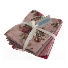 Cotton Linen Fat Quarter Pack Of 5 - Rosy