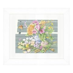 Counted Cross Stitch Kit: Flowers on Bench (Aida)