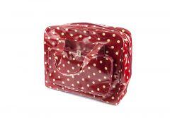 Polka Dot Design PVC Sewing Machine Bag White Spots on Dark Red (20 x 43 x 37cm)