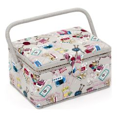 Medium Grey Notions Sewing Box, Contemporary Multi-Coloured Pattern Fabric, 18.5x26x15cm