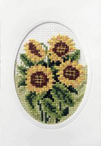 Cross Stitch Card Sunflowers