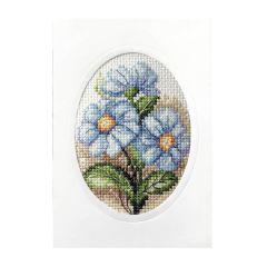 Cross Stitch Card: Blue Flowers