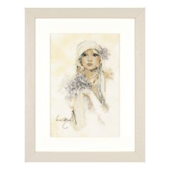 Lanarte PN-0008013 Sara Moon / Lady With Lilac Flower Counted Cross Stitch Kit