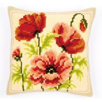 Cross Stitch Cushion - Poppies 11