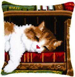 Cross Stitch Cushion Cat Sleeping