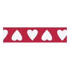 Berisfords 10mm Red/White Love Hearts Ribbon (20m spool)