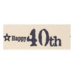 Berisfords 15mm 40th Special Birthday Ribbon (20m spool)