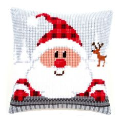 Cross Stitch Cushion: Santa in a Plaid Hat