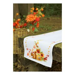 Counted Cross Stitch Table Runner: Squirrel in Autumn