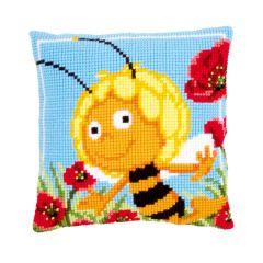 Printed Cross Stitch Cushion: Maya In The Poppies