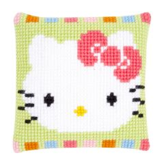 Printed Cross Stitch Cushion: Hello Kitty In Pastel