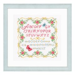 Counted Cross Stitch Kit: Alphabet and Roses