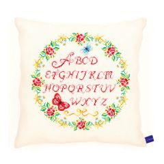 Counted Cross Stitch Cushion: Alphabet and Roses
