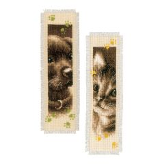Counted Cross Stitch Kit: Bookmark: Cat and Dog (Set of 2)