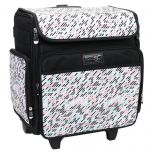 Everything Mary 12777-1 Pill Print Rolling Tote Bag, 2 Wheeled Trolley Bag for Sewing and Crafts