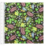 Cotton Craft Fabric 110cm wide x 1m | Sloth Jungle Jungle Plants | 13468-BLACK