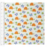 Cotton Craft Fabric 110cm x 1m | Sloth Jungle Turtle & Butterflies | 13469-WHITE