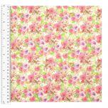 Cotton Craft Fabric 110cm wide x 1m   Elephant Fun Floral Bouquet   13474-WHITE