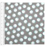 Cotton Craft Fabric 110cm wide x 1m | Elephant Fun Footprints | 13475-GRAY