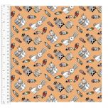 Cotton Craft Fabric 110cm w x 1m | Woodland Tribe Tossed Animals | 13767-PEACH