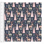 Cotton Craft Fabric 110cm wide x 1m | Dwellings Forest Animals | 13809-NAVY