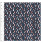 Cotton Craft Fabric 110cm wide x 1m | Dwellings Bunnies | 13817-NAVY