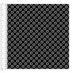 Cotton Craft Fabric 110cm wide x 1m - Basics Circles - Black - 14548-BLACK
