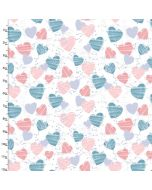 Brushed Cotton Craft Fabric 110cm wide x 1m Mommy and Me Collection - Hearts