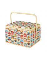 Owl Printed Large Sewing Basket 31.5 x 24 x 20cm | Sewing Online FL-011