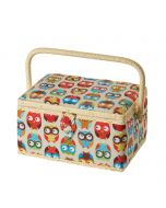 Owl Printed Sewing Basket 26 x 18.5 x 15cm   Sewing Online FM-011