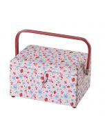 Large Sewing Box with Compartments in a Floral Fabric. 23.5x31x20.5cm