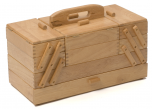 Premium Quality Wooden Sewing Box Solid Pine Light Wood Large (23.5 x 45 x 32cm)