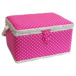 Medium Pink Polka Dot Sewing Basket 26 x 19 x 15cm | Sewing Online FM-003