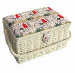Sewing Online FM-007 | Notions Sewing Basket | Beige/Multi | 26.5 x 19 x 15cm