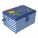 Medium Sewing Box with Compartments in a Striped Blue Fabric with a Rainbow Embroidered Sewing Thread Lid. 18.5x26x15cm