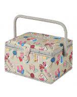 Medium Grey Notions Sewing Box, Contemporary Multi-Coloured Pattern Fabric, 18.5x26x15cm