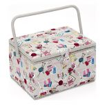 Large Grey Notions Sewing Box, Contemporary Multi-Coloured Pattern Fabric, 23.5x31x20cm