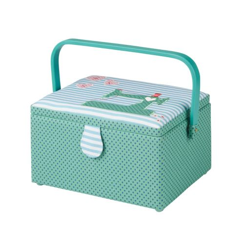 Medium Sewing Box with Compartments in a Navy Polka Dot Green Fabric with an Appliqu├® Sewing Machine and Pink Hearts Blue Striped Lid. 18.5x26x15cm